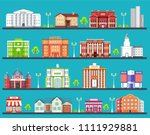 flat colorful city buildings... | Shutterstock . vector #1111929881