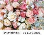 romantic pastel rose wedding... | Shutterstock . vector #1111936001