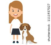 little girl with cute dog | Shutterstock .eps vector #1111937027