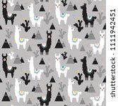 seamless pattern of llama ... | Shutterstock .eps vector #1111942451