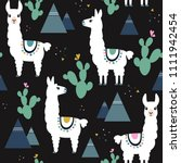 seamless pattern of llama ... | Shutterstock .eps vector #1111942454