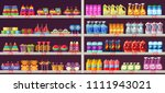 supermarket aisle shelves with... | Shutterstock .eps vector #1111943021