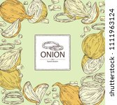 background with onion  rings ... | Shutterstock .eps vector #1111963124
