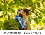 stylish hipster couple kissing... | Shutterstock . vector #1111974641