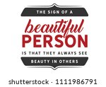 the sign of a beautiful person... | Shutterstock .eps vector #1111986791