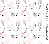 pink safari animals pattern | Shutterstock .eps vector #1111991297