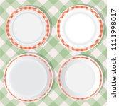 set of empty food plates. top... | Shutterstock .eps vector #1111998017