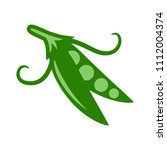 green vector peas illustration... | Shutterstock .eps vector #1112004374