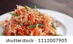 vegan salad with carrot and... | Shutterstock . vector #1112007905