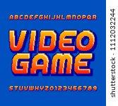 retro computer game alphabet... | Shutterstock .eps vector #1112032244
