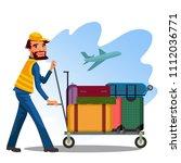male employee is carrying cart... | Shutterstock .eps vector #1112036771