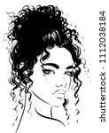attractive woman with curly hair | Shutterstock .eps vector #1112038184