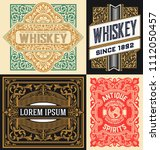 set of 4 vintage labels | Shutterstock .eps vector #1112050457