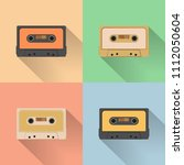 vintage audio tapes icon  retro ... | Shutterstock .eps vector #1112050604