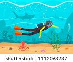 diver dives in the ocean.... | Shutterstock .eps vector #1112063237
