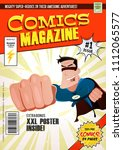comic book cover template ... | Shutterstock .eps vector #1112065577