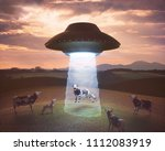 3d illustration. cow on the... | Shutterstock . vector #1112083919