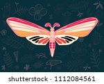 night tropical moths on floral... | Shutterstock .eps vector #1112084561