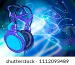 blue colored headphones on a... | Shutterstock .eps vector #1112093489