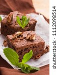 brownie sweet chocolate dessert ...   Shutterstock . vector #1112098514