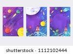 huge universe brochure cards....   Shutterstock . vector #1112102444
