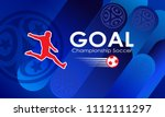 Goal 2020 Championship Soccer inscription, sports symbols, football ball, soccer player abstract blue dynamic background, america art, tricolor, award cup, winner banner, place for text, World vector