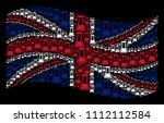 waving uk flag on a black... | Shutterstock .eps vector #1112112584