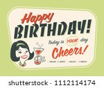 vintage style happy birthday... | Shutterstock .eps vector #1112114174