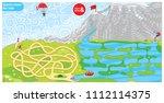sports maze game for kids.... | Shutterstock .eps vector #1112114375