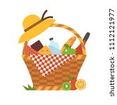 wicker picnic basket with wine... | Shutterstock .eps vector #1112121977
