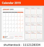 calendar template for 2019 year.... | Shutterstock .eps vector #1112128334