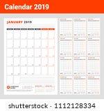 calendar template for 2019 year.... | Shutterstock .eps vector #1112128334