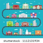 flat colorful city buildings... | Shutterstock . vector #1112131934