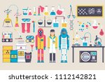 biohazard chemists in chemistry ...   Shutterstock . vector #1112142821