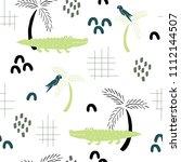 summer hand drawn seamless... | Shutterstock .eps vector #1112144507