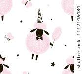 fluffy pink sheep pattern   Shutterstock .eps vector #1112146484