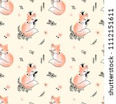 fox princess pattern | Shutterstock . vector #1112151611
