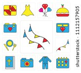 set of 13 simple editable icons ... | Shutterstock .eps vector #1112157905