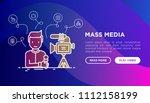 mass media concept  journalist... | Shutterstock .eps vector #1112158199