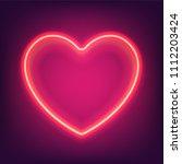 bright neon red pink heart ... | Shutterstock .eps vector #1112203424