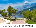 beautiful sunny day in makarska ... | Shutterstock . vector #1112207234