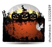 halloween banner with cemetery... | Shutterstock .eps vector #111222839