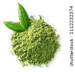 heap of green matcha tea powder ... | Shutterstock . vector #1112232374