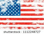 usa flag snowflake background | Shutterstock . vector #1112248727