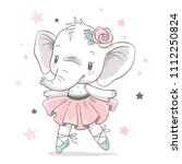 Stock vector vector illustration of a cute baby elephant ballerina in a pink tutu 1112250824