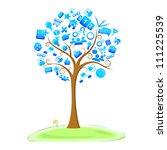 illustration of technology symbol in tree - stock vector