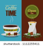 coffee and tea time cups and... | Shutterstock .eps vector #1112255411