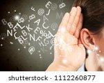 woman holds her hand near ear | Shutterstock . vector #1112260877
