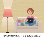 pastel color living room with... | Shutterstock .eps vector #1112272019