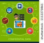 confidential data flat icons... | Shutterstock .eps vector #1112273861